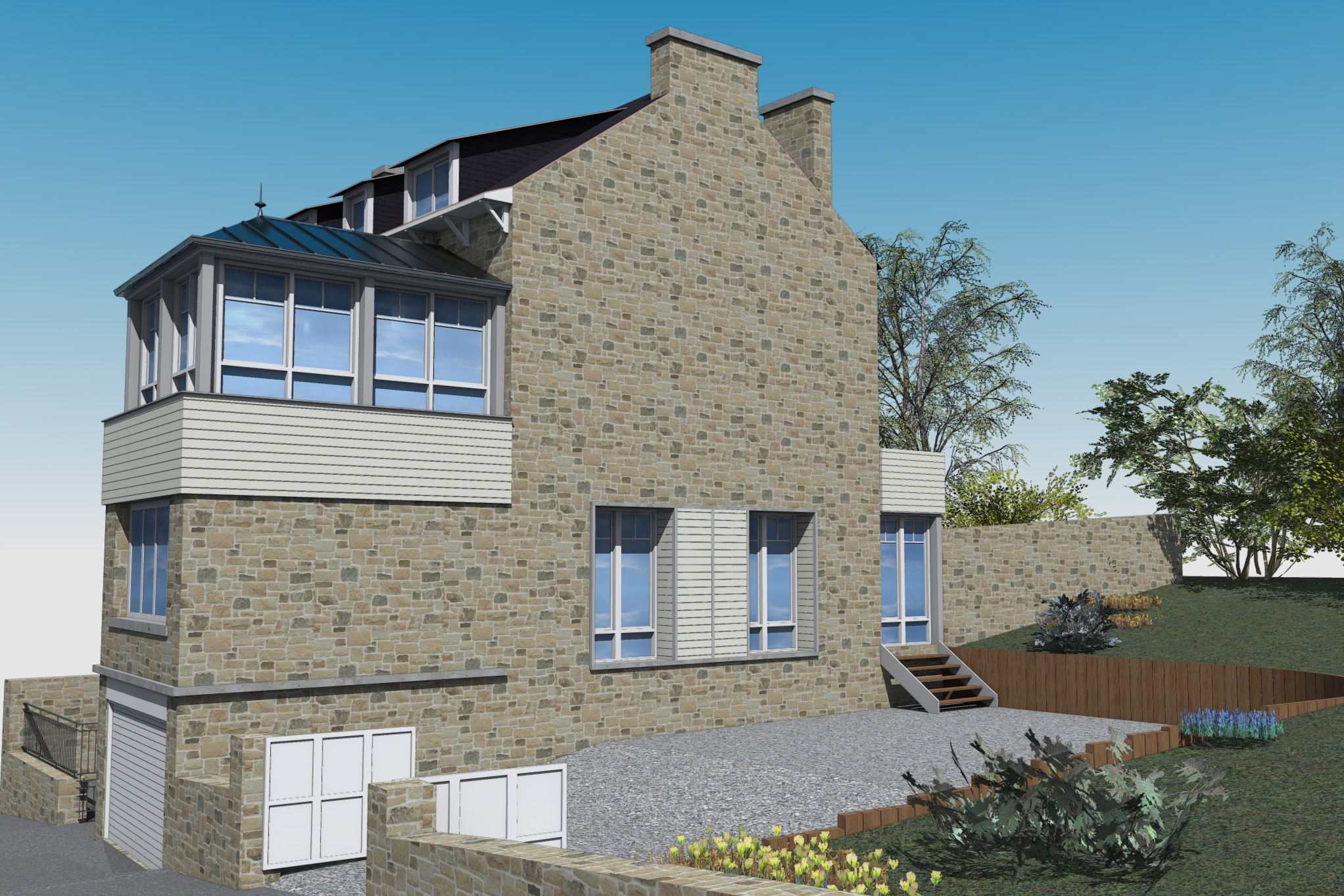 esquisses extension maison en pierre archiplusarchiplus. Black Bedroom Furniture Sets. Home Design Ideas